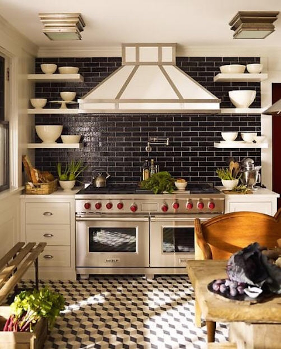 Black Kitchen Tiles B Q: 5 Cozinhas Com Ladrilhos Hidráulicos No Piso