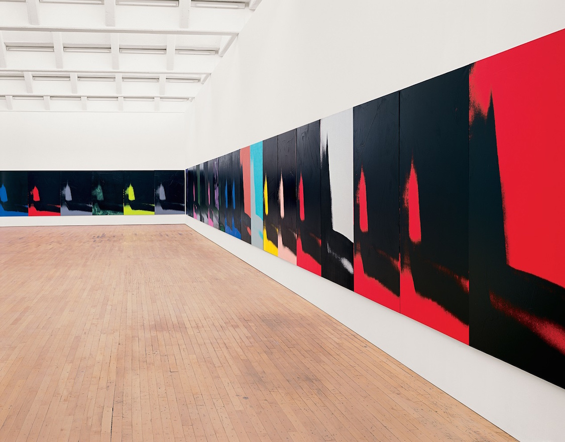 Andy Warhol Shadows, 1978–79 Installation of 72 of 102 paintings Acrylic, variously silkscreened and painted on canvas 76 x 52 inches (193 x 132 cm) each Dia Art Foundation Photo: Bill Jacobson