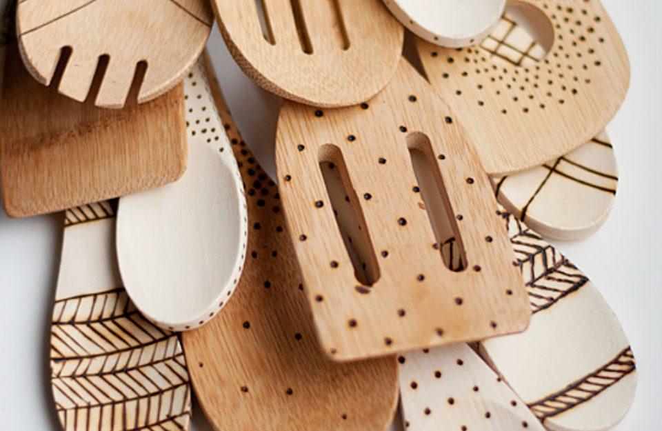 Personalize os utensílios de madeira!