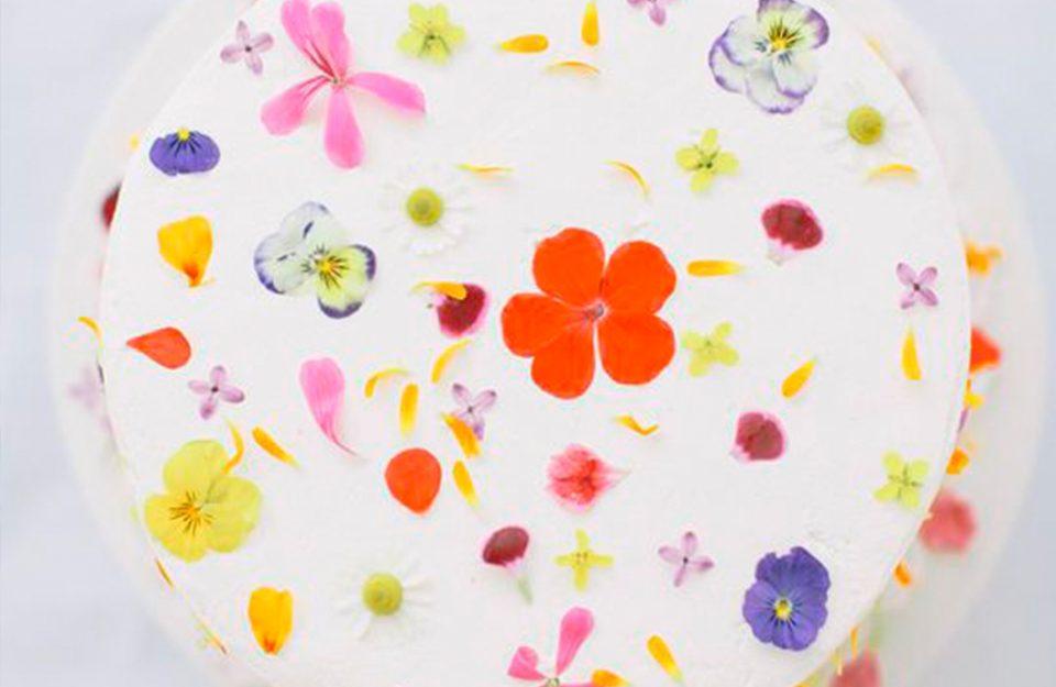 Decoração de bolos com flores de verdade