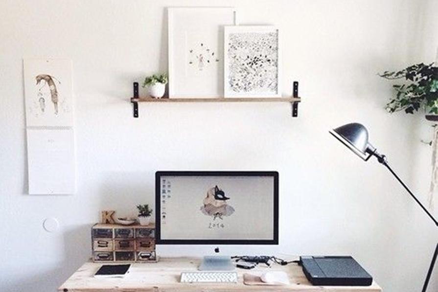 Tudo branquinho: home office