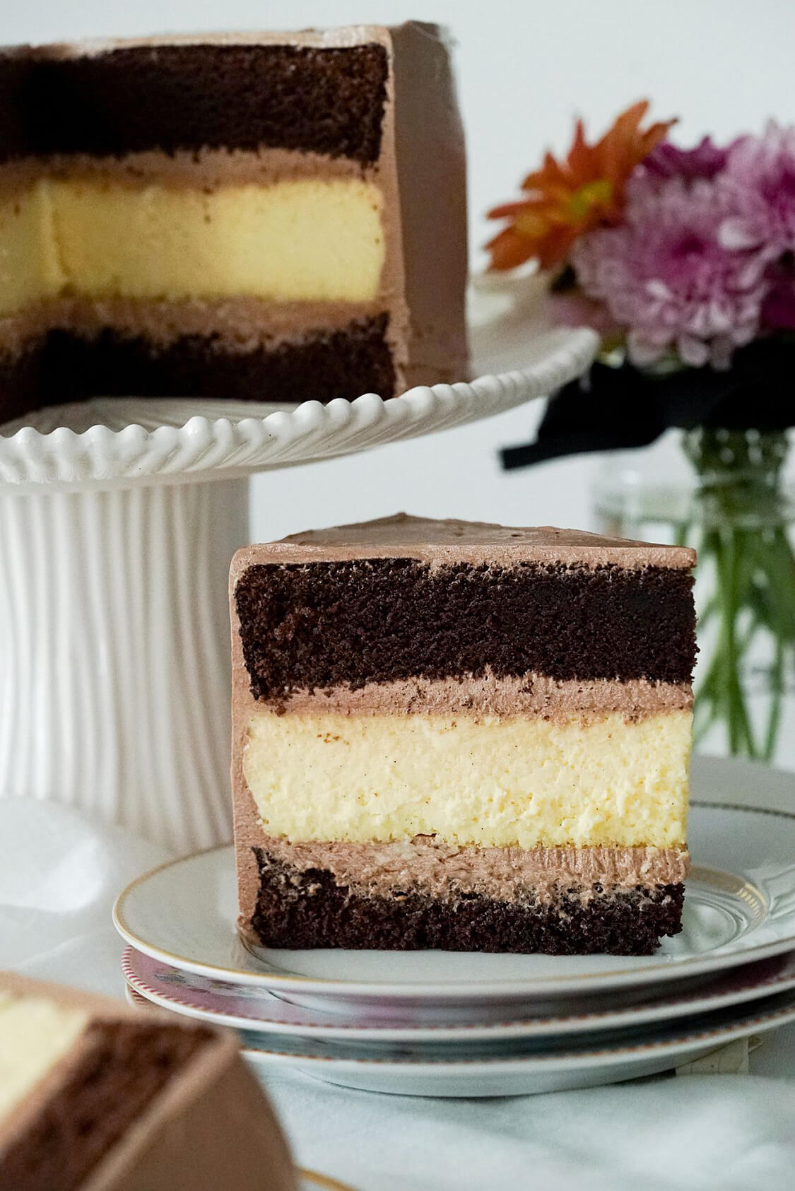 Bolo de chocolate de cheesecake