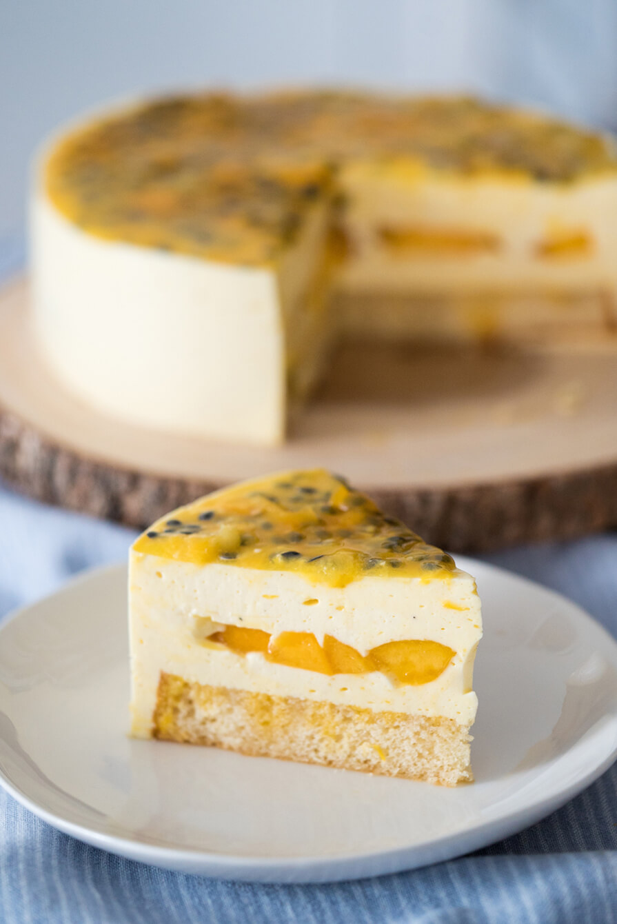 cheesecake de frutas amarelas
